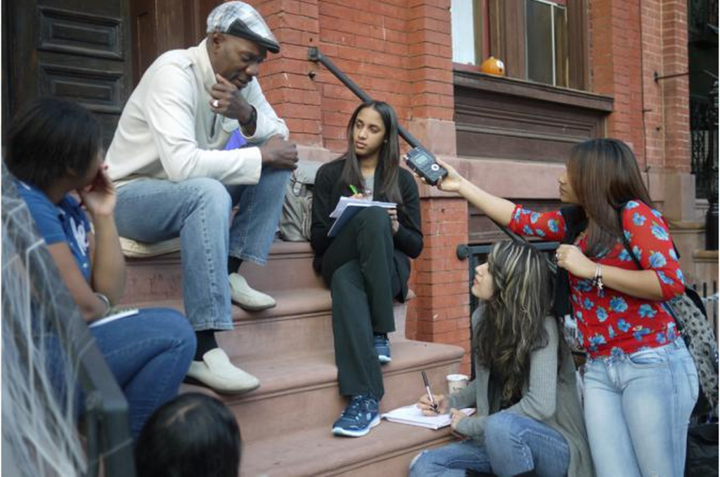 Bronx students interview a community member