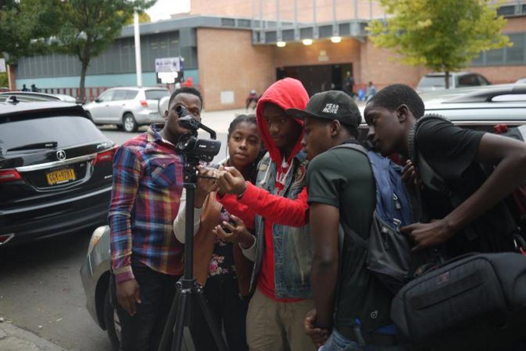 Bronx students set up a shot