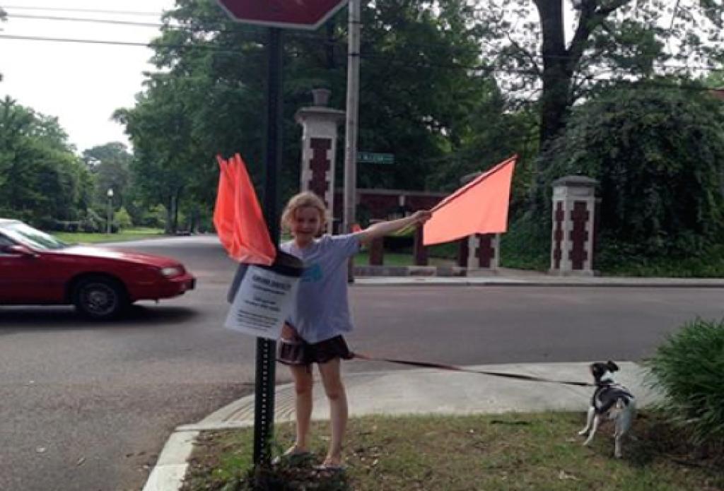 small fundraising raise money crosswalk flags
