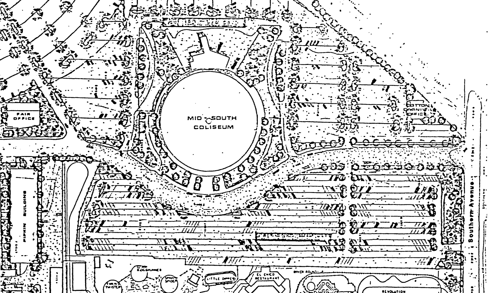 SIte plan for the Mid-South Coliseum